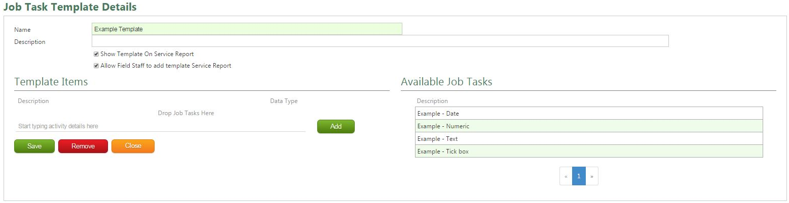 Once Saved, The Page Will Expand Allowing You To Add In The Required Job  Tasks To The Template  Job Task Template